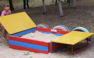 Песочница с крышкой: чертежи схемы